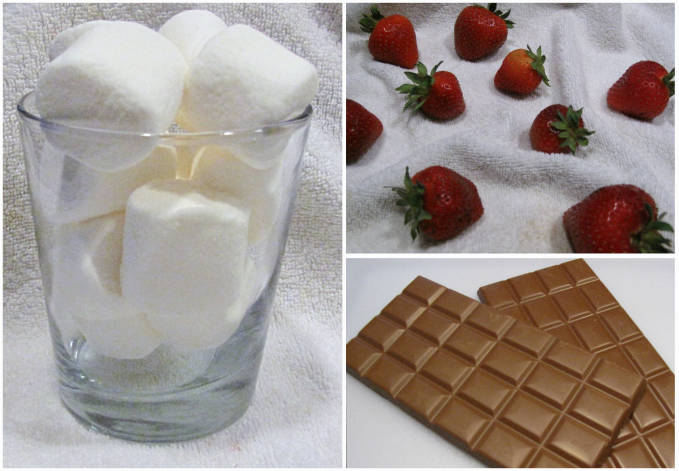 The ingredients for chocolate strawberries