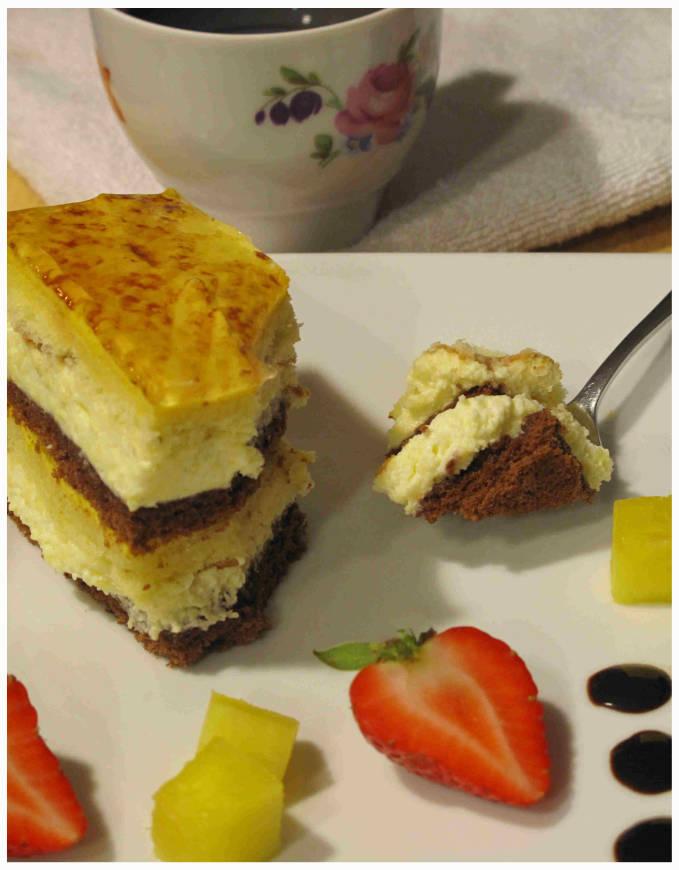 Coconut-mango chocolate cake with a lemon glaze