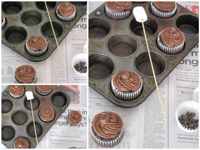 Chocolate-marshmallow campfire cupcakes