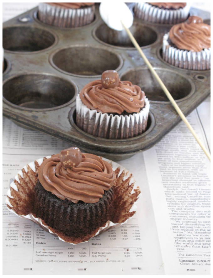 Unwrapped chocolate cupcake