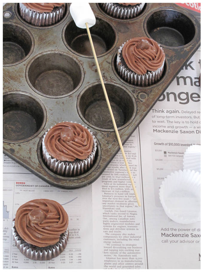 Pan of chocolate-marshmallow cupcakes