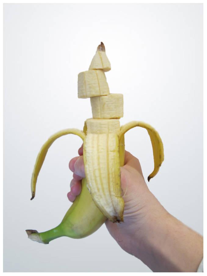 A pre-sliced banana