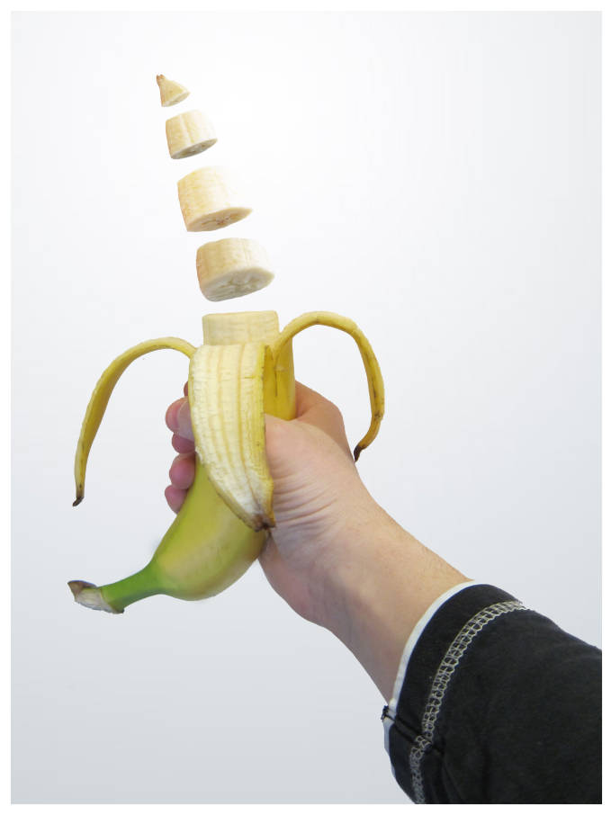 A pre-sliced banana defying gravity