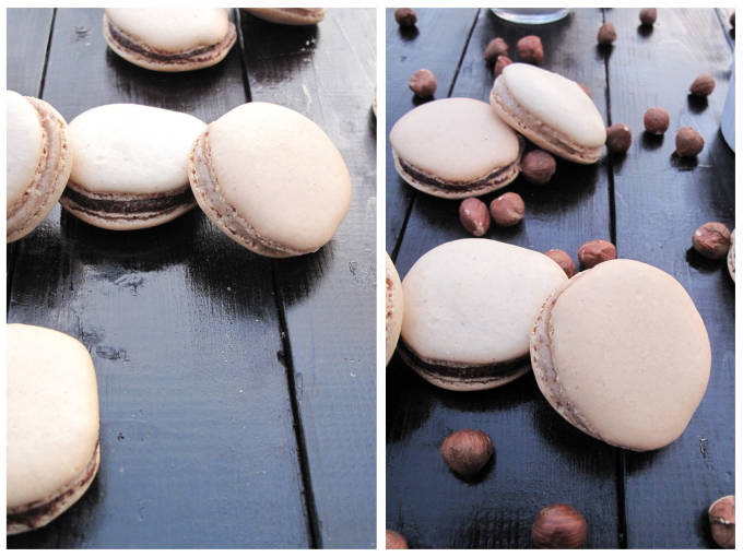 Chocolate and hazelnut french macarons