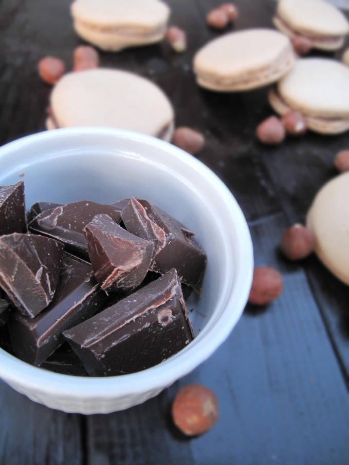 Chocolate for the dark-chocolate ganache filling