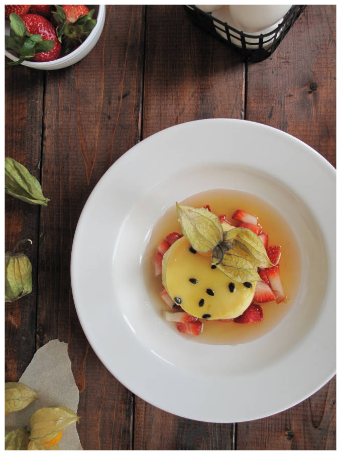 Passion fruit crème caramel with physalis fruit