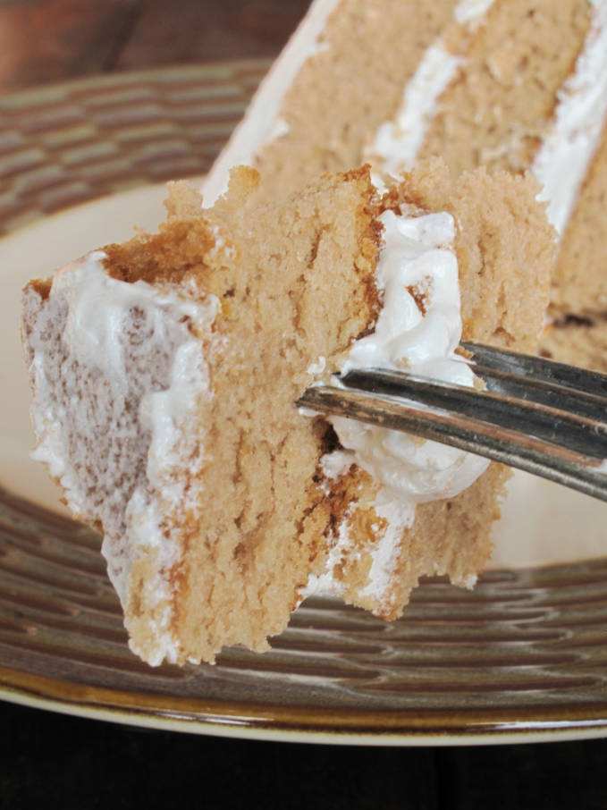 A bite of Earl Grey chiffon cake with maple meringue frosting