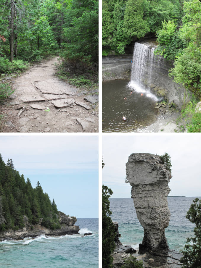Bridal Veil Falls (top) and Flowerpot Island (bottom)