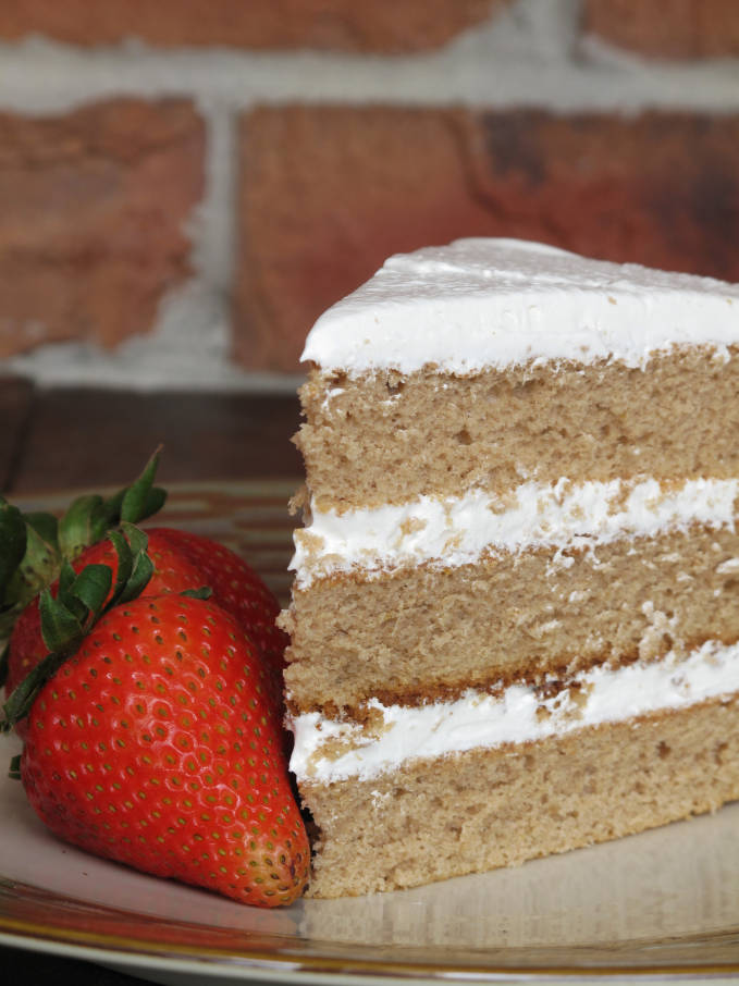 Earl Grey chiffon cake with maple meringue and strawberries