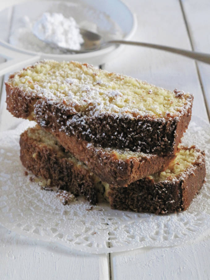 Coconut bread dusted with icing sugar