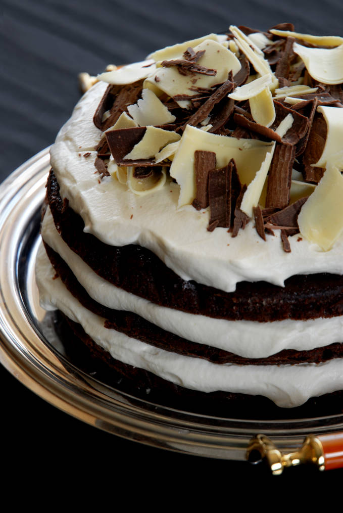 Chocolate cake with spiked whipped cream. Make your own at home--click for the recipe!