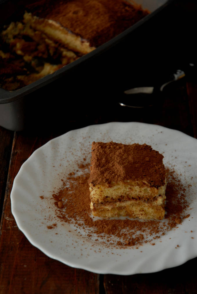 A slice of homemade tiramisu cake. Want your own homemade slice? Make it! Click to get the recipe.