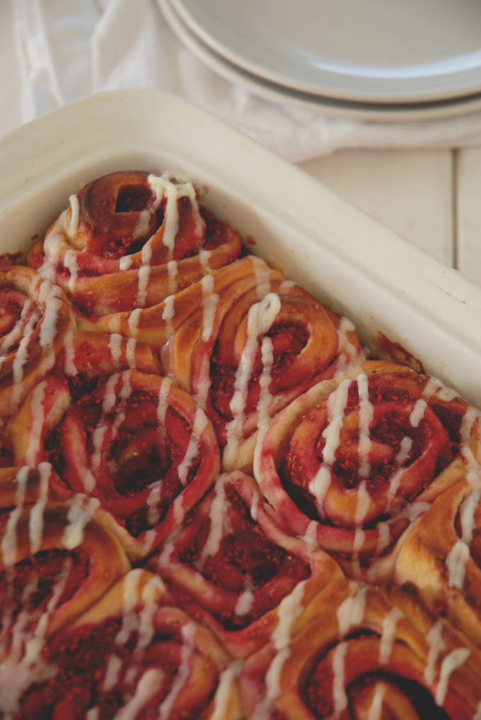 Raspberry-lemon sweet rolls with cream cheese frosting. Don't have raspberries? That's okay. You can use almost any berry to make these awesome sweet rolls. Click to get the recipe!