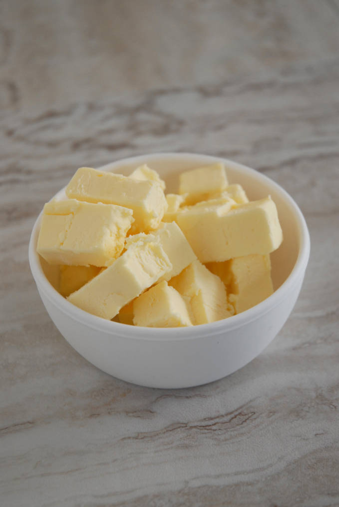 A bowl of butter--click to get instructions on how to make PERFECT PIE & TART DOUGH every time!