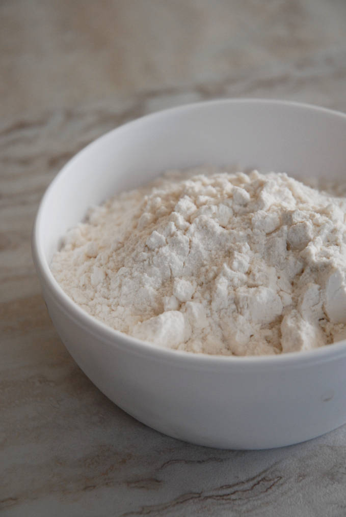 Bowl of flour--click to get instructions on how to make PERFECT PIE & TART DOUGH every time!