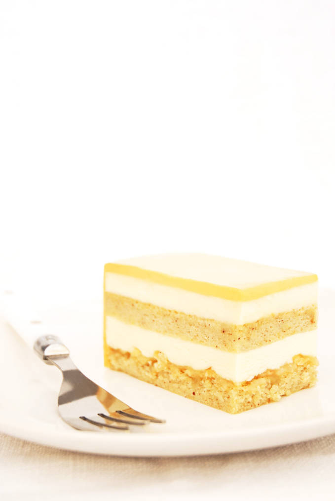 and caramel entremet cake with layers of hazelnut cake, coffee mousse ...