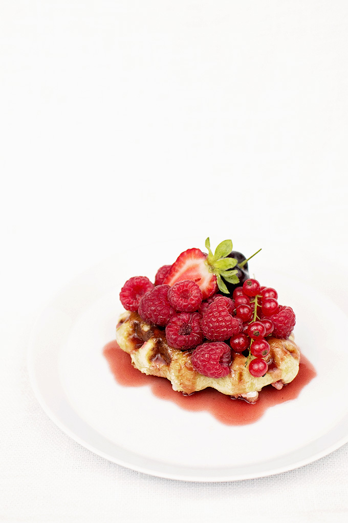 Liège waffles with red fruit and sour cherry sauce