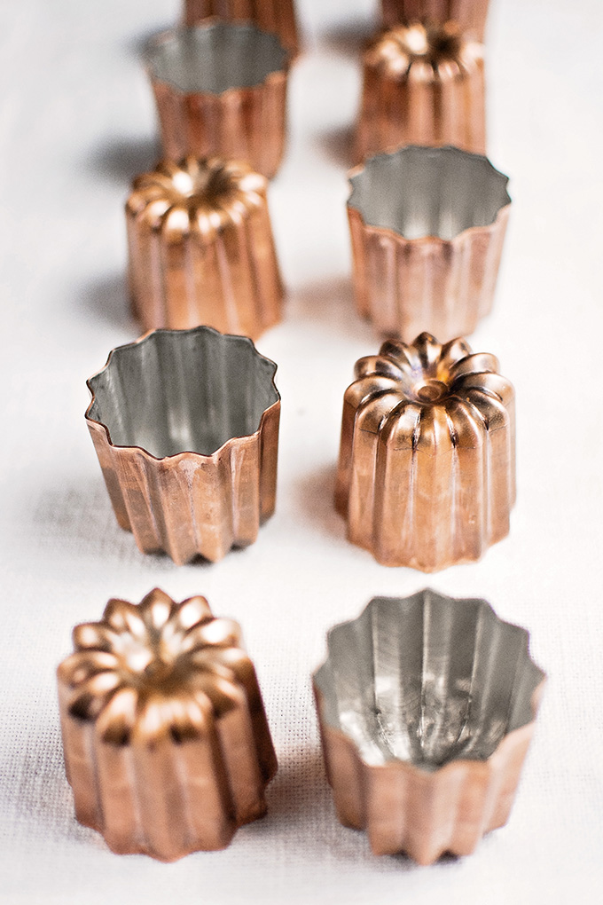 New, copper canelé (cannelé) moulds