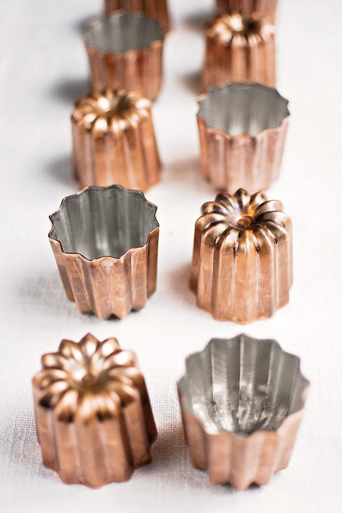 New, copper canelé (cannelé) moulds