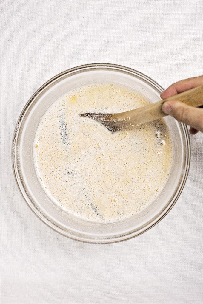 Mixing canelé batter