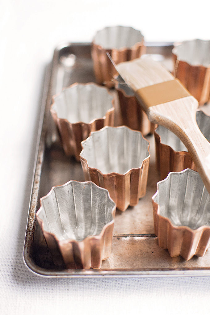 Prepping copper canelé moulds before first use